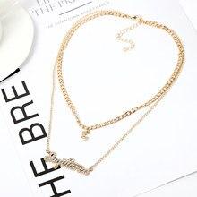 Многослойная цепочка из сплава, ожерелье с надписями зодиака, ожерелье с подвеской, стразы, пара модных ювелирных изделий, оптовая продажа/П...