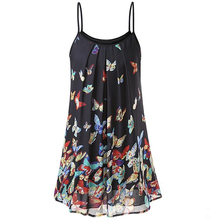 Women Chiffon Dress Lady Bohemian Spaghetti Strap Sleeveless Plus Size Mini Vintage Print Sundress Vestido S-5XL H40
