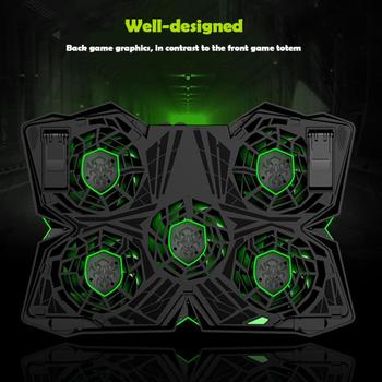 Laptop Cooler Notebook Cooling Pad With 5 LED Fan USB Cooler Pad Computer Stand Mat For 12-17 Inch PC Laptop Speed Adjustable 2