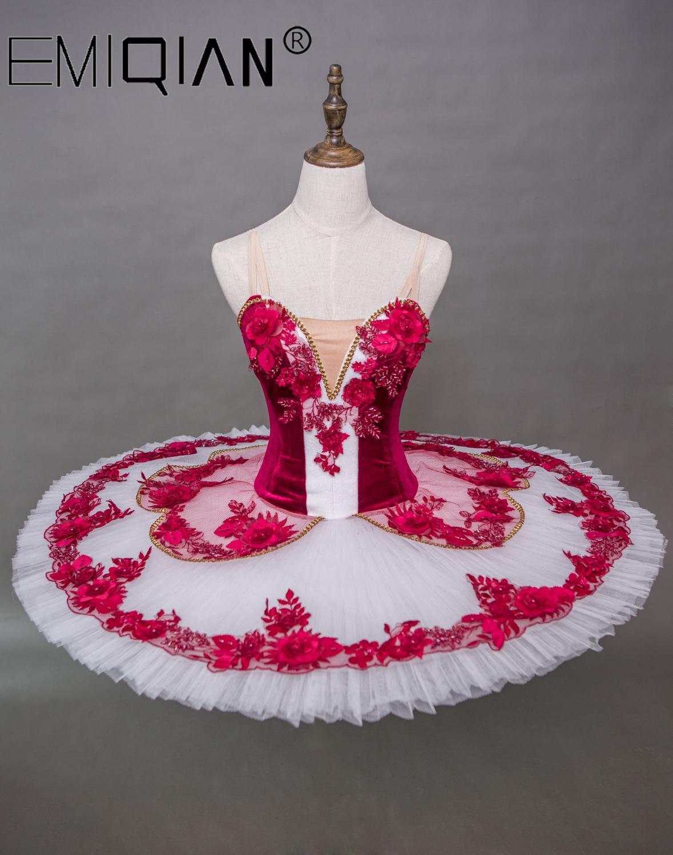 Kitri Paquita Don Quixote,Adult Professional Ballet Tutus Women Coppelia Classical Ballet Tutu Pancake Tutu Dress Red Paquita