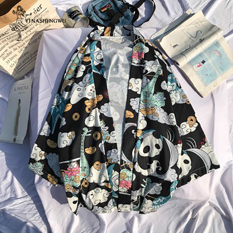 Japanese Kimono Cardigan Harakuju Vintage Cartoon Print Kimono Summer Shirt Yukata Women Outerwear Beach Travel Thin Blouses