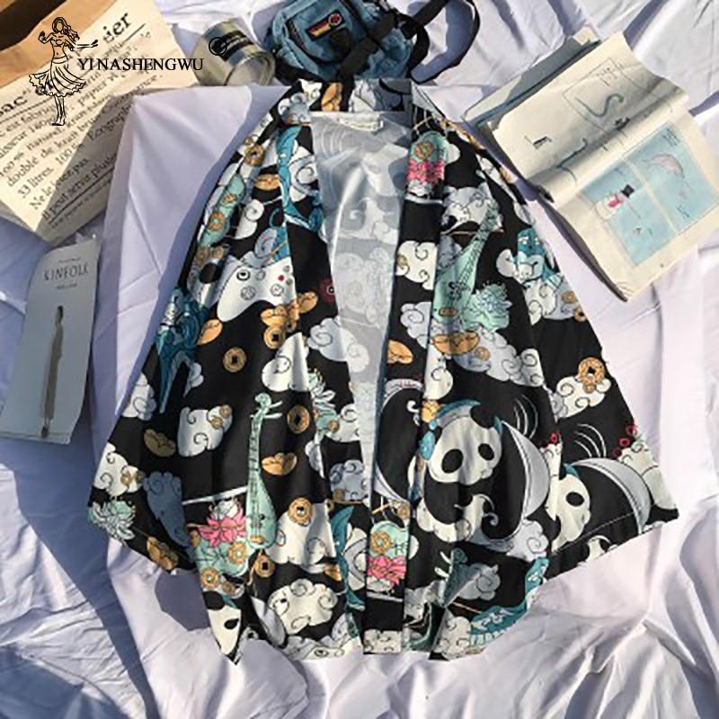 Japanese Kimono Cardigan Harakuju Vintage Cartoon Print Kimono Summer Shirt Yukata Women Outerwear Beach Travel Thin Blouses
