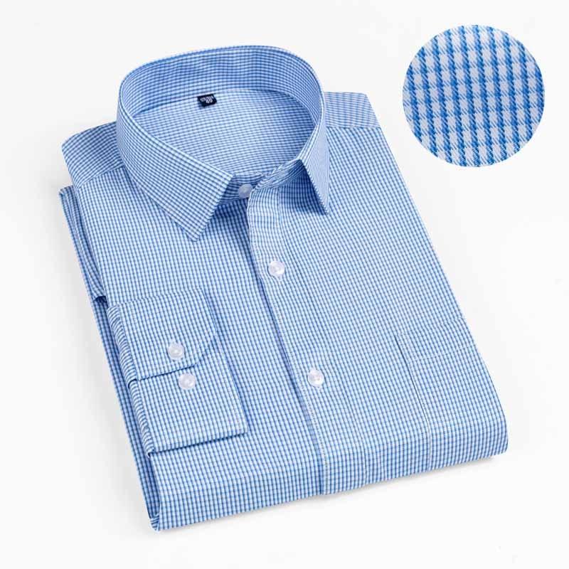 New 2019 Autumn Men Shirt Plus Size Slim Fit 45% Cotton Plaid Men Dress Shirts Regular Long Sleeve Men's Business Casual Shirt 8