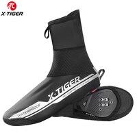 X-TIGER pro reflexivo à prova dwaterproof água ciclismo capa de sapato inverno bicicleta ciclismo overshoes cobre à prova vento mtb sapato cobre