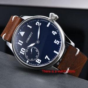 Image 3 - Corgeut 44mm Horloge Mannen 17 Juwelen Hand Kronkelende 6497 Beweging Lichtgevende Waterdichte Mechanische Horloges Lederen Band