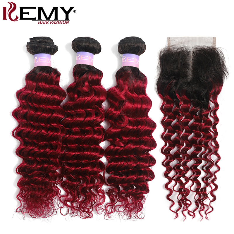 Deep Wave Human Hair Bundles With Closure 4x4 KEMY HAIR Two Tone Brazilian Ombre Red Hair Weave Bundles With Closure Non-Remy