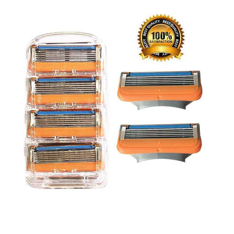 4 pièces/lot professionnel rasage 5 couches lames de rasoir Compatible pour Gillettee Fusione pour hommes soins du visage ou mâché 3