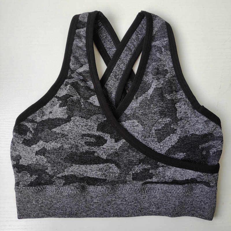 Nepoagym Vrouwen Camo Naadloze Beha Naadloze Sport Bh Padded Push Up Bh Sport Bh Hoge Impact Vrouwen Yoga Top Sport shirt
