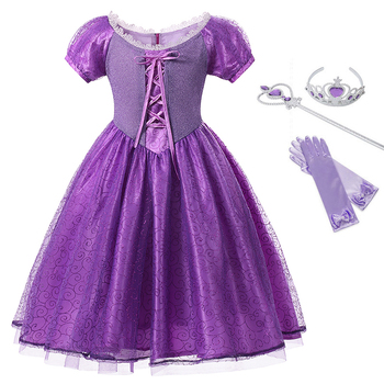 Girls Rapunzl Princess Dress Kids Cosplay Costume Halloween Clothes Baby Child Role-play Tangled Dress for Girl Birthday Party customized costume rapunzel tangled mother gothel dress costume cosplay adult woman s medieval dress party cosplay cotume