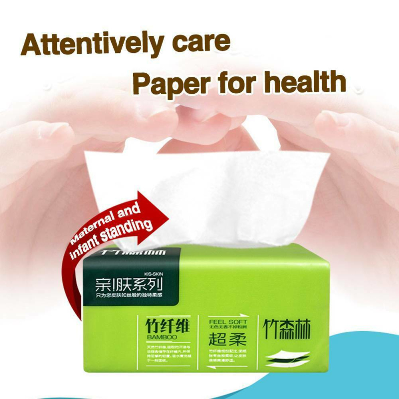 1 Pack Native Bamboo Pulp Natural Color Pumping Paper Sanitary Toilet Paper Cleaning Tool For Kitchen Living Room Bathroom TSLM1