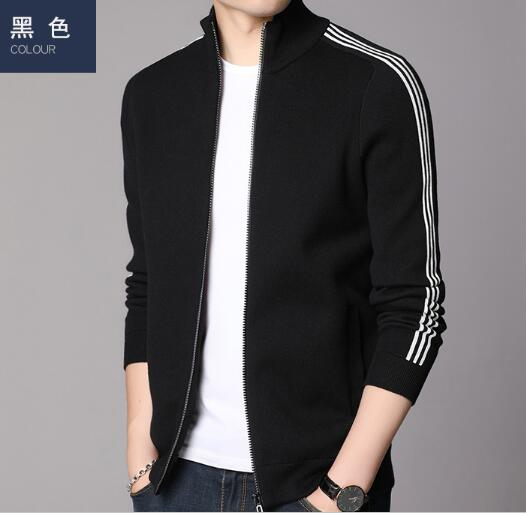New Knit Cardigan Men's Solid Color Sweater Autumn And Winter Korean Trend Stand-up Collar Sweater Men's Thick Zipper Jacket
