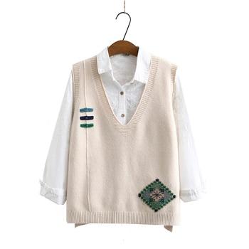 Autumn Wool Knit Vest Women Beige Khaki Black Wool Knitwear V-neck Sleevless Pullover Sweater Woman Fake Button Design Waistcoat v neck belt button up waistcoat