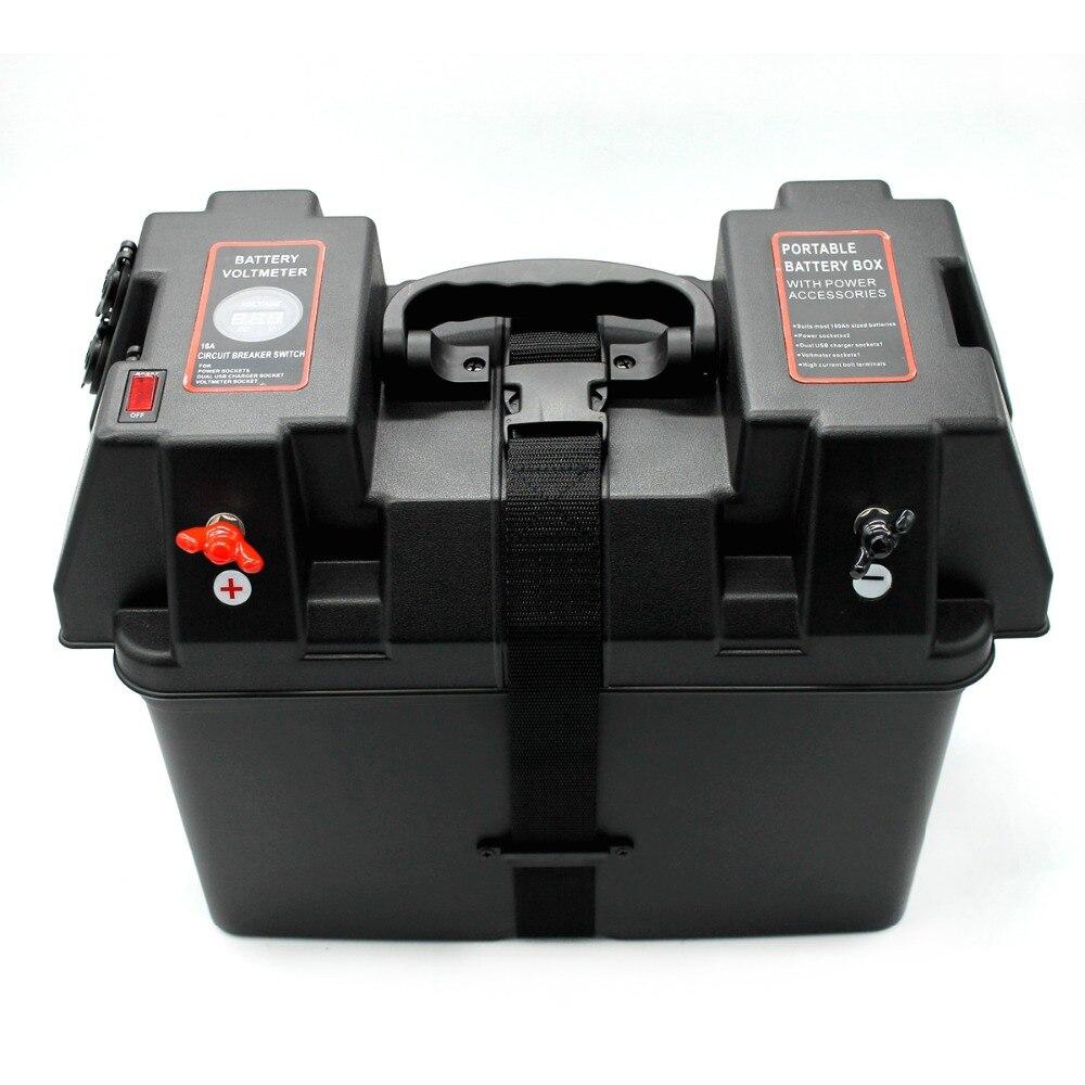 Boîtier intelligent de stockage de batterie   Moteur en roulant, boîte de batterie, centrale électrique, noir, multifonction, stockage de batterie pour bateau,, tension de batterie, voltmètre, chargeur USB