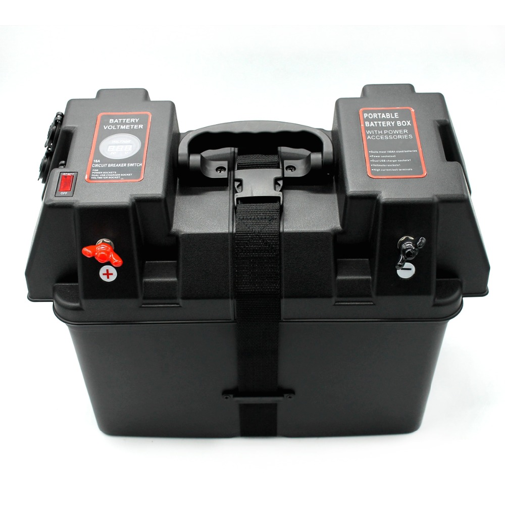 Rolling Motor Smart Battery Box Power Center Black Multifunction Battery Storage For Boat Car LED Battery Voltmeter USB Charger