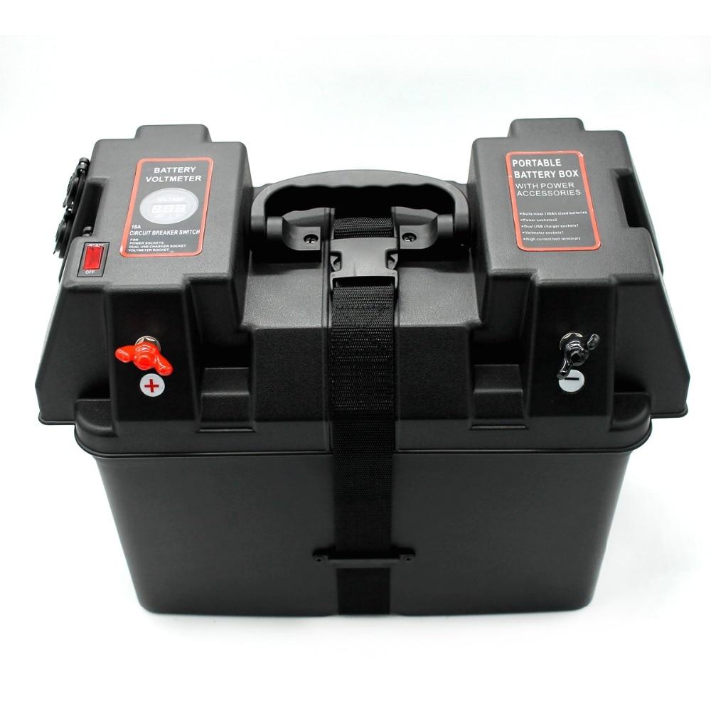Rolling Motor Smart Battery Box Power Center Black Multifunction Battery Storage For Boat Car LED Battery Voltmeter USB Charger