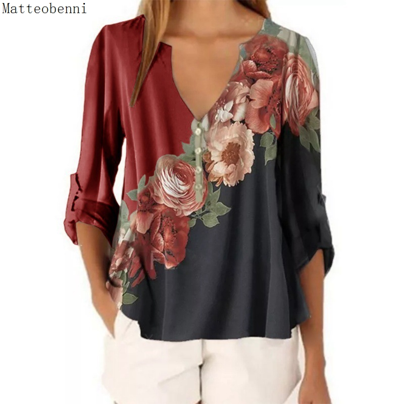 Women Fashion Casual S-5XL Autumn T Shirt Ladies Floral Print Loose Tee Shirt Tops Female Long Sleeve Plus Size Pullovers 2020(China)
