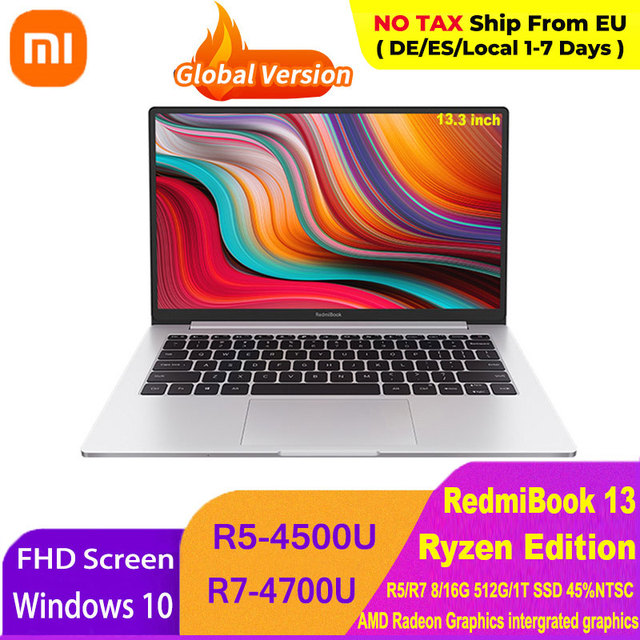 Xiaomi RedmiBook 13 Laptop Ryzen Edition Notebook AMD Ryzen 4700U/4500U 13.3 Inch Display 512GB/1T SSD Windows 10 Computer 1