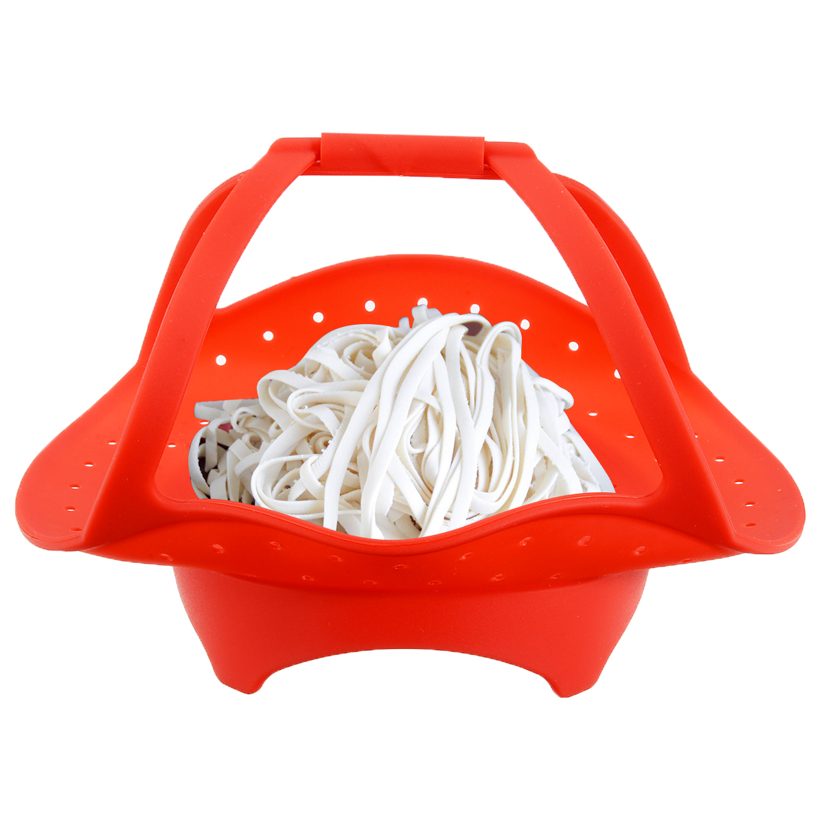 Foldable Silicone Pot Steamer Food Tool Drain Baskets Pad Microwave Ovan Steamer Kitchen Heat Resistant Handle Cookware Tool