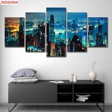 Full Square/Round Drill 5D DIY diamond painting 5pc New York City Night View Pictures mosaic Diamond Embroidery J2227(China)