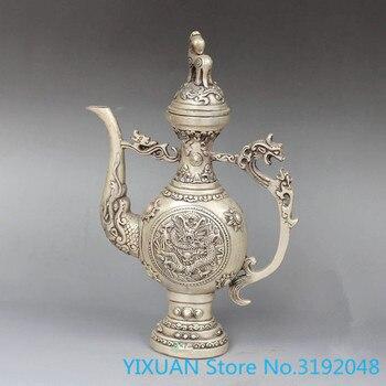 Artesanías de metal de tetera de dragón de cobre y plata Vintage de Tíbet de China
