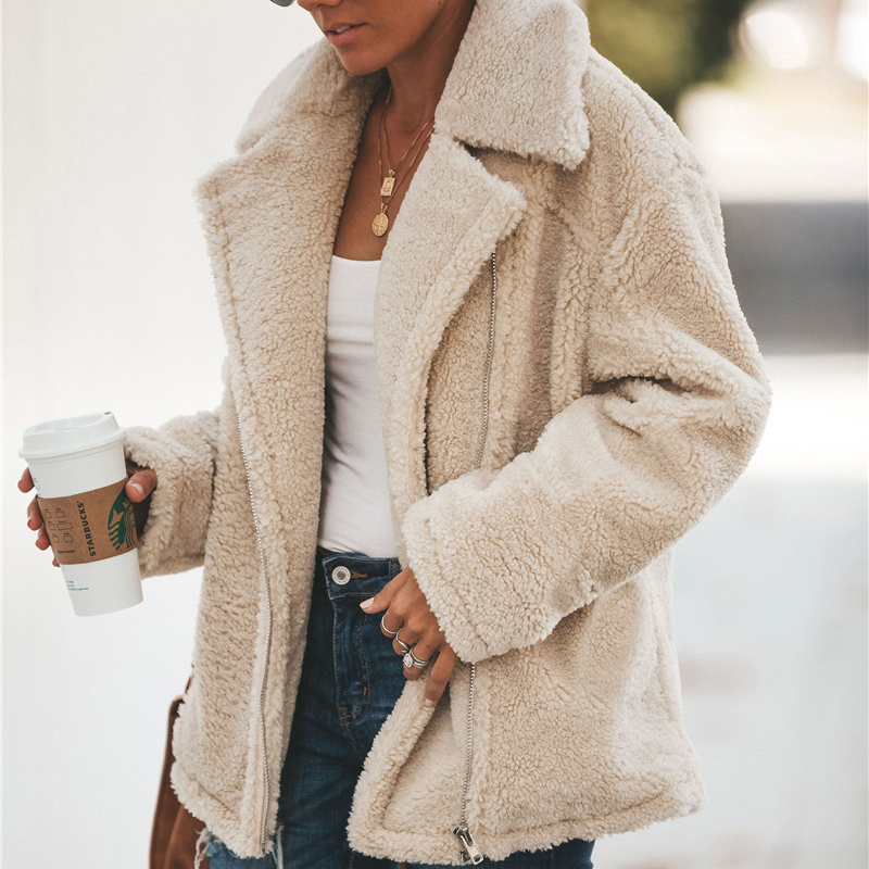 2019 Winter Teddy Coat Woman Thick Warm Lapel Long Sleeve Zipper Fluffy Fake Fur Jackets Female Fashion Plus Size Overcoat