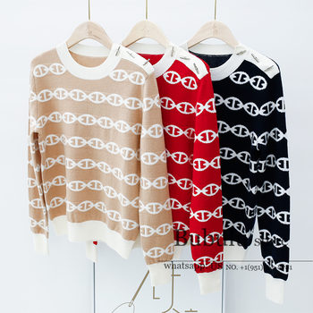 luxury designer women 2020 Autumn Winter Geometric Chain Jacquard Metal Shoulder Buckle round Neck wool Sweater Female pullovers round geometric cut out arm chain