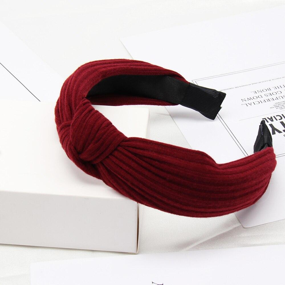 Couleur unie noeud bandeaux pour femmes Simple tissu filles bandeau femmes cheveux accessoires large côté bandeau 38