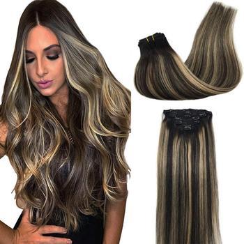 Natural Straight Clip In Hair Extensions Menselijk Haar Volledige Hoofd 14Inch-24Inch Remy Haar Blonde Haar 7 Stuks Set 120G Hightlights Hair