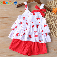 Sodawn Baby Girls Clothes Suit 2020 Brand NEW Summer Toddler Girl Clothes Dot Bow Vest T-shirt Tops+Shorts Pants 2Pcs Set weiqinniya girls set toddler girl summer print shorts suit girls striped dot pants 2pcs tracksuit for girl children clothing set