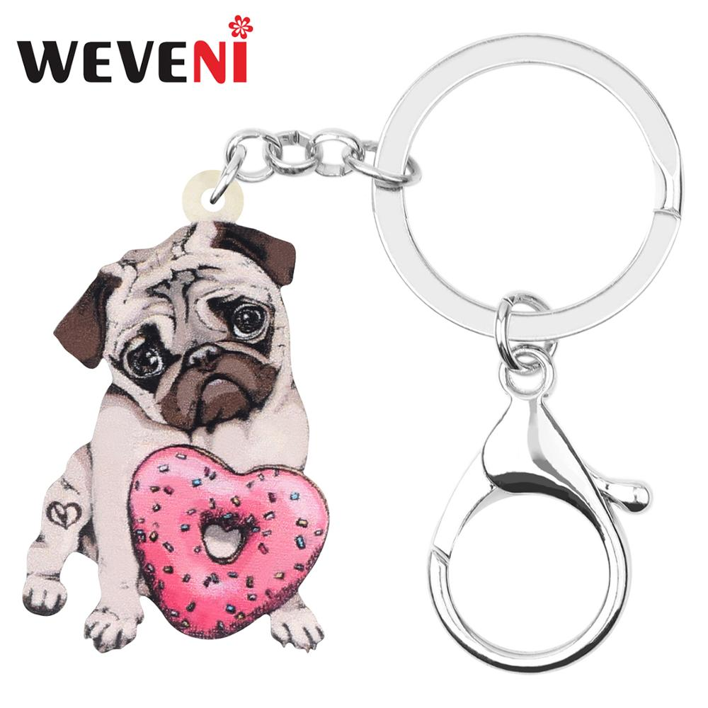 WEVENI Acrylic Valentine's Day Donuts Pug Dog Key Chains Rings Bag Car Purse Decorations Keychain For Women Girl Teen Charm Gift
