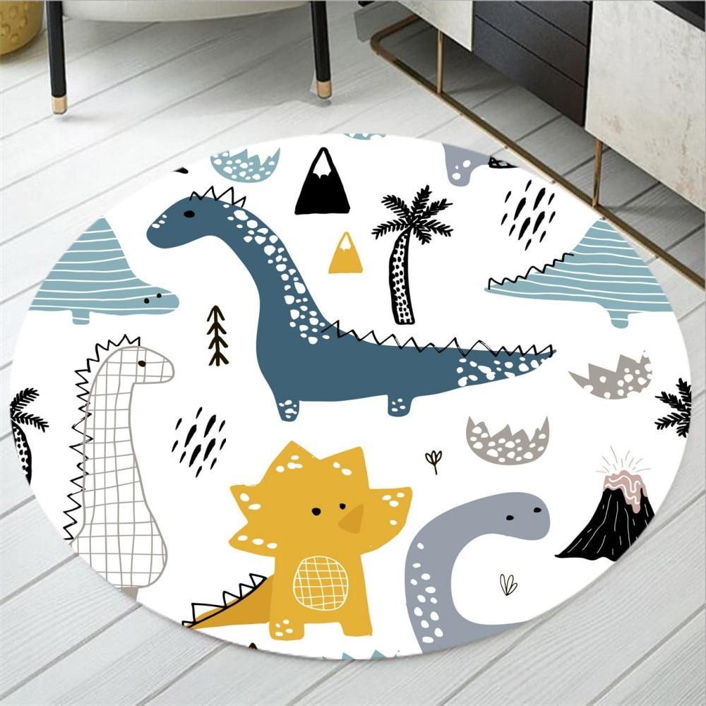 Dinosaur Family Round Carpet Non Slip Area Rugs Animals Floor Mat For Kids Cartoon Floor Mat for Bedroom Dropshipping