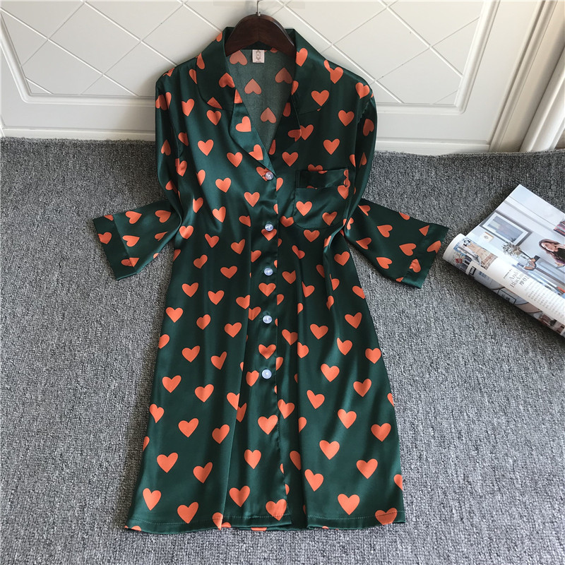 Qweek 2020 Silk Nightgown For Women Sexy Nightwear Satin Sleepshirt Cute Night Wear Women Sleeping Dress Print Night Shirt