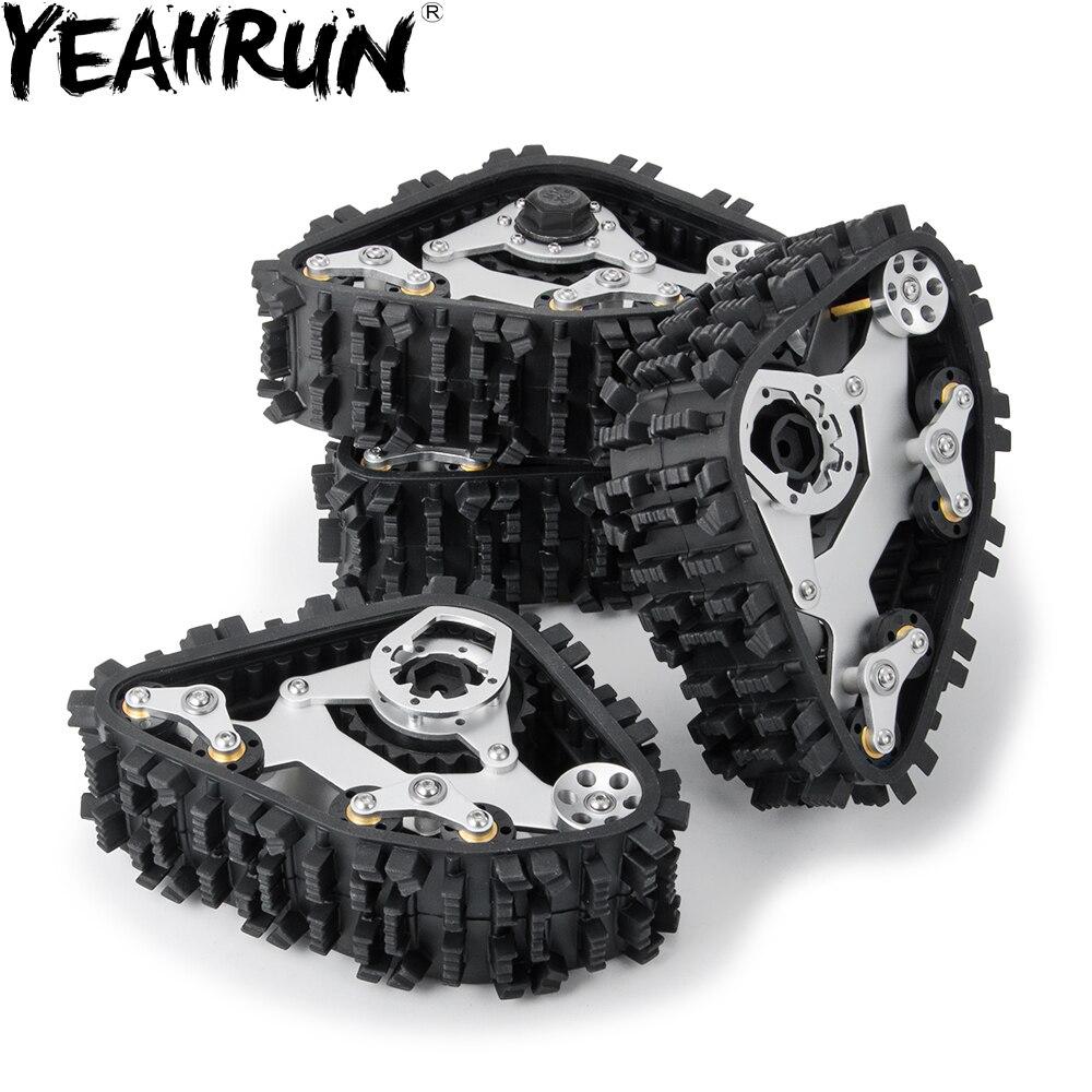 YEAHRUN  1/2Pair RC Aluminum Alloy Tracks Wheel Sandmobile Conversion Snow Tire for 1:10 Trx4 Trail Crawler