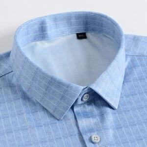 Image 2 - Holiday Casual Short Sleeve Checkered Printed Shirts Pocket less Design Standard fit Comfortable Soft Thin Mens Plaid Shirt