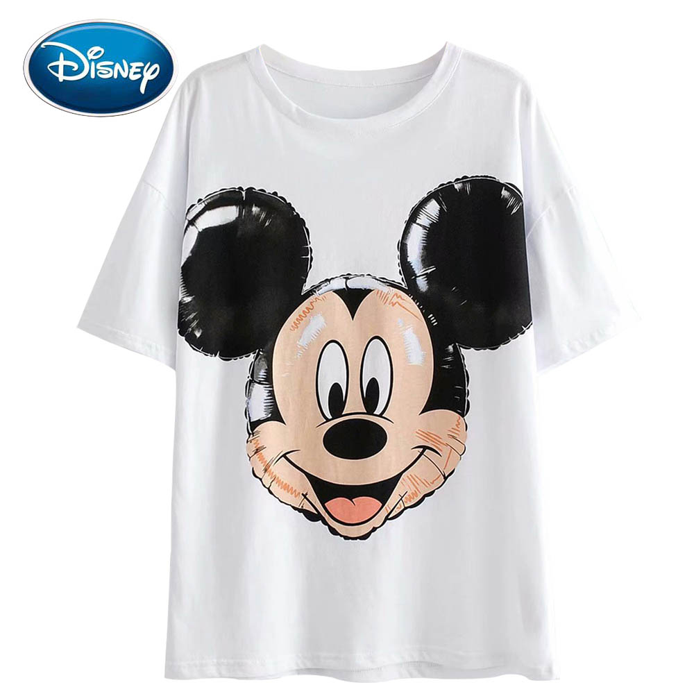 Disney Stylish Cute Mickey Mouse Balloon Cartoon Print T-Shirt O-Neck Pullover Short Sleeve Casual Fashion Women White Tee Tops