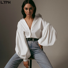Hot sale 2019 Autumn New women blouses Lantern Sleeves lapel Streetwear fashion Casual wild Loose Slim button simple Solid shirt