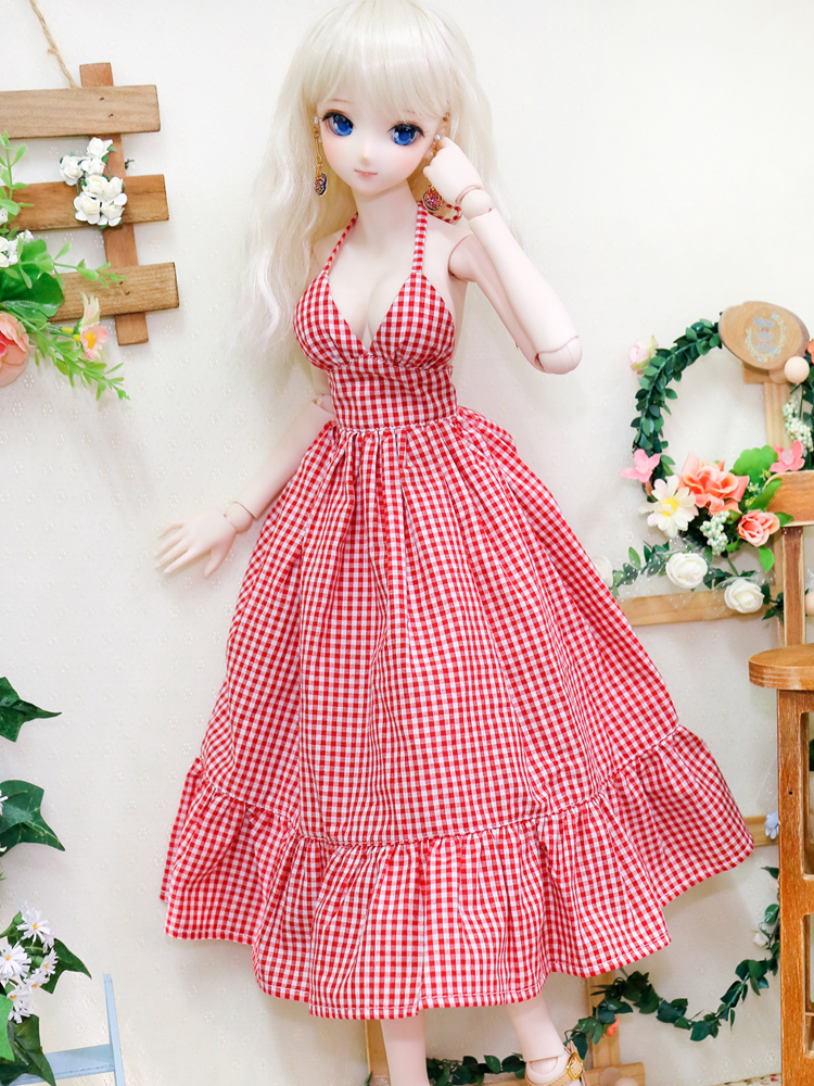 BJD Doll Clothes Summer Slip Dress Beach Skirt Red Plaid Sexy Dress Backless 4 Colors DDM/DDL 1/3 Custom Doll Accessories