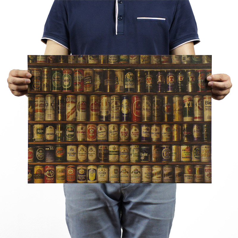 Beer Collection Vintage Kraft Paper Classic Movie Poster School Decor Garage Wall Decor Art  Retro School Prints