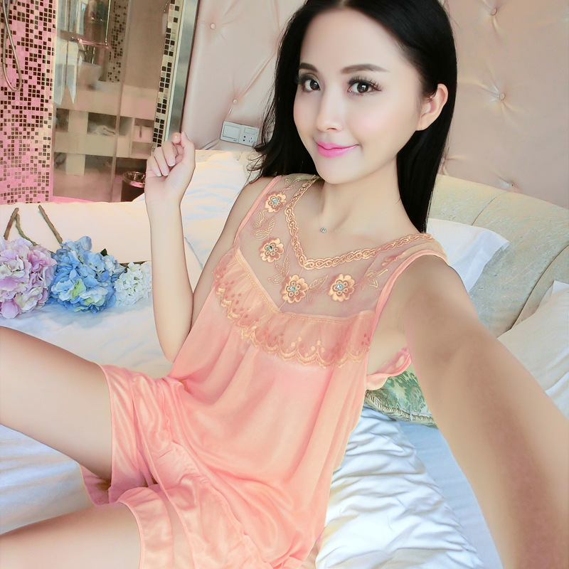 [According Feminine] 6 PCs Color Ice Silk Nightgown Long Sleeve Pajamas Women's Summer Short-sleeved Nightgown Tracksuit Large S