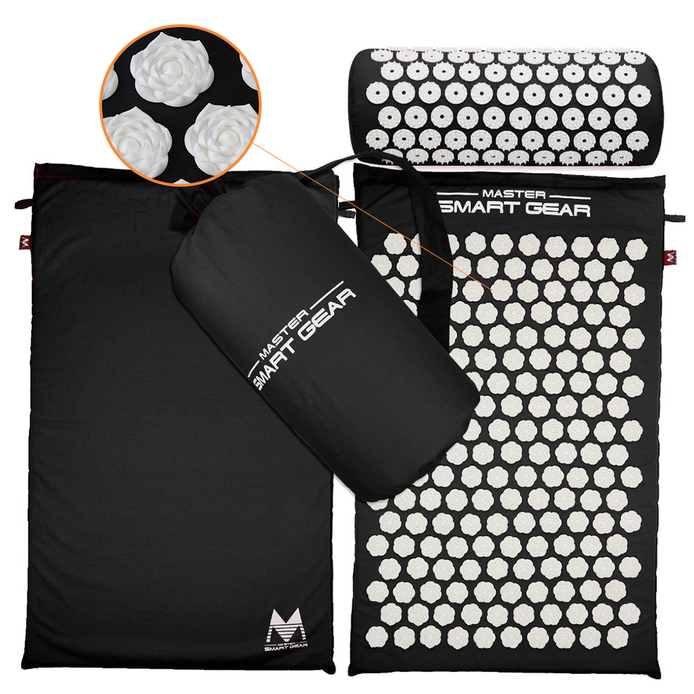 Back and Neck Pain Relieving Acupressure Massage Mat with Pillow Set for Yoga and Exercise to Release Stress