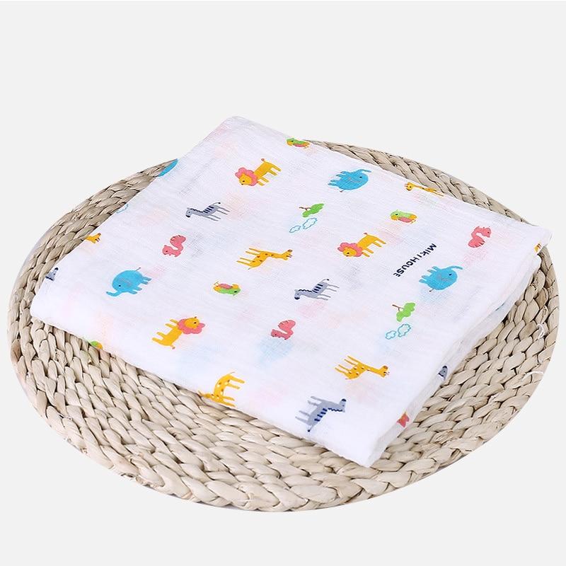 1 шт., муслин, хлопок, детские пеленки, мягкие одеяла для новорожденных, для ванной, марля, Детская накидка, спальный мешок, чехол для коляски, игровой коврик - Цвет: Zoo