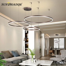 Modern Led Pendant Light For Dining room Kitchen Living Brushed Gold&Coffee Cricle Ceiling Lamps Fixtures