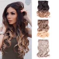 Extensión de cabello rizado Natural para mujer, 5 Clips en una pieza, postizo de pelo sintético degradado, marrón, Rubio, largo ondulado