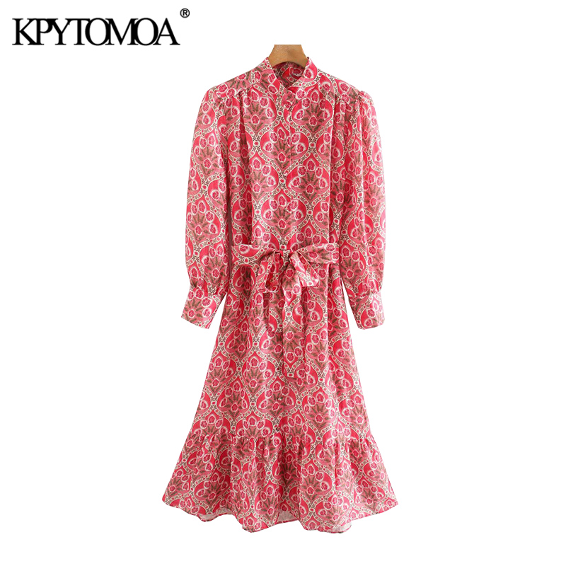 KPYTOMOA Women 2020 Chic Fashion Floral Print Ruffled Midi Dress Vintage High Collar With Belt Female Dresses Vestidos Mujer