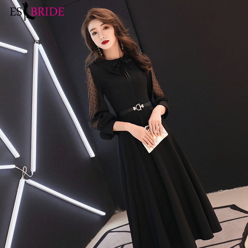 Black Formal Birthday Evening Dresses Long Evening Gowns For Women Elegant O-neck Robe De Soiree Evening Dress Party ES2468