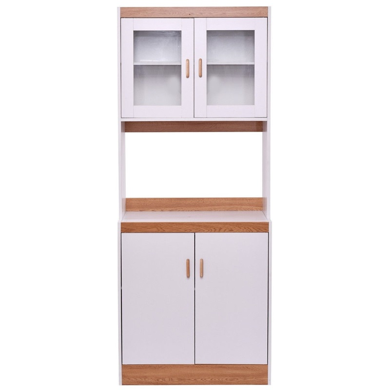 Us 149 56 30 Off Tall Shelves Microwave Cart Stand Kitchen Storage Cabinet White Gl And Wood Plate Furniture Hw56197 On