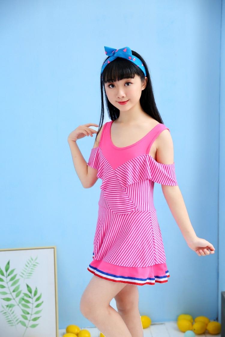 KID'S Swimwear Girls Dress-Big Boy Tour Bathing Suit 10-15-Year-Old Princess Cute South Korea Hot Springs Swimwear