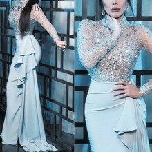 Luxo lantejoulas frisado vestidos de noite 2020 sereia manga longa prata sereia vestido de noite