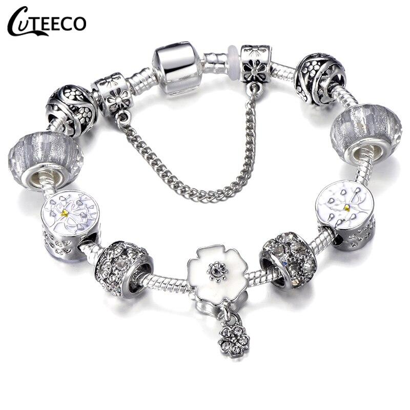 CUTEECO Европейский Любовь Сердце Шарм Браслеты и браслеты новые Марано бусины fits Дизайнерские Браслеты Женские Модные Ювелирные изделия Подарки - Окраска металла: AJ3044