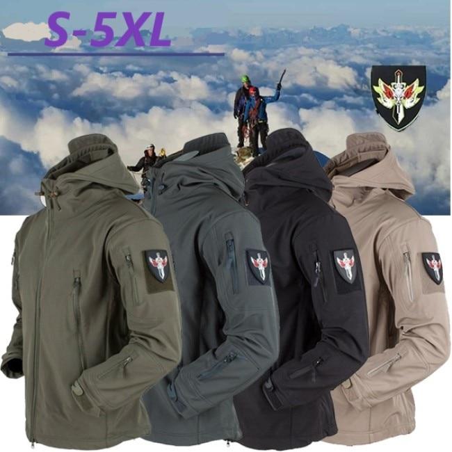 Men Military Jacket Winter Soft Shell Waterproof Army Tactical Jacket Pockets Zipper Hooded Camouflage Male Windbreaker Coat